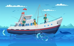 Fishing in boat flat vector illustration. Professional fishermen in vessel cartoon characters. Men catching fish using net. Commercial fishing industry. Ship in ocean. Guy angling with rod drawing
