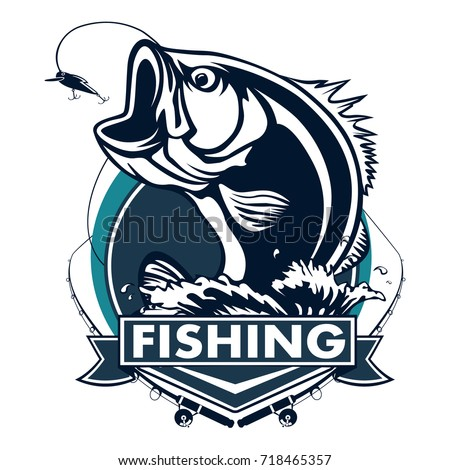 Fishing logo. Bass fish with rod club emblem. Fishing theme vector illustration. Isolated on white.