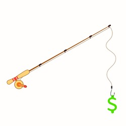Fishing money concept art,high quality vector design