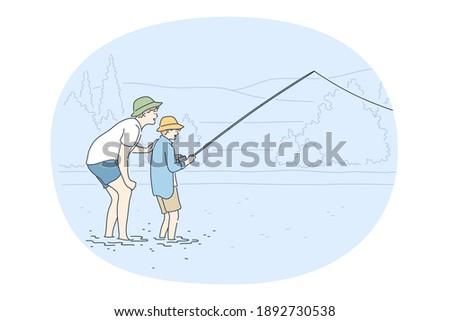 fishing on lake concept two