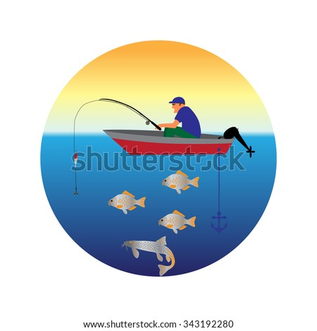 fishing on the boat vector