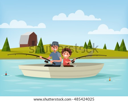 fishing on the lake father and