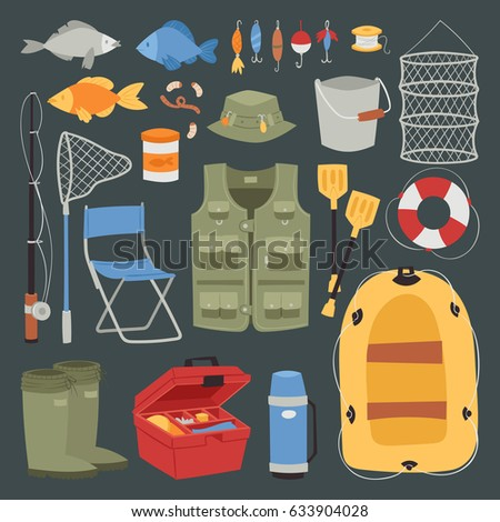 Fishing outdoor vacation fun activity icons set isolated fishery hobby design vector illustration