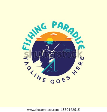fishing paradise logo vector
