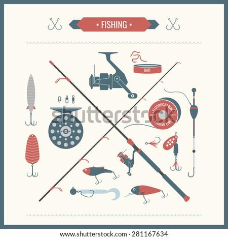 fishing reel  hooks  float