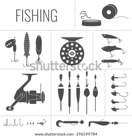 Fishing reel, hooks, float, fishing line, lure, bait. Icons and illustrations for design, website,  poster, advertising.