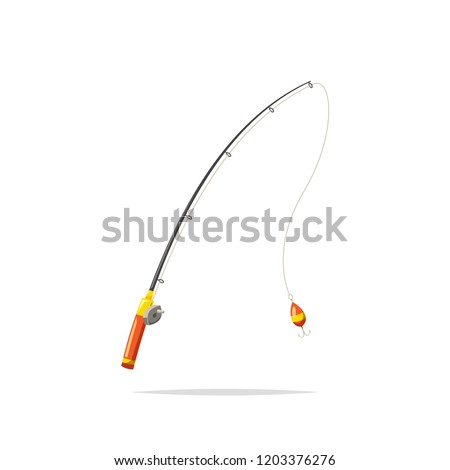 Fishing rod cartoon vector isolated