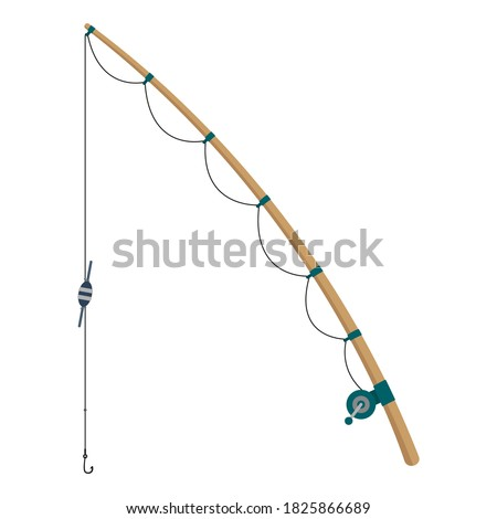 Fishing rod icon. Side view. Colored silhouette. Wooden rod. Vector flat graphic illustration. The isolated object on a white background. Isolate. Foto d'archivio ©