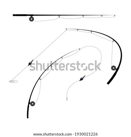 Fishing rods with spool and hook - bent, biting and straight rodes, vector Stockfoto ©