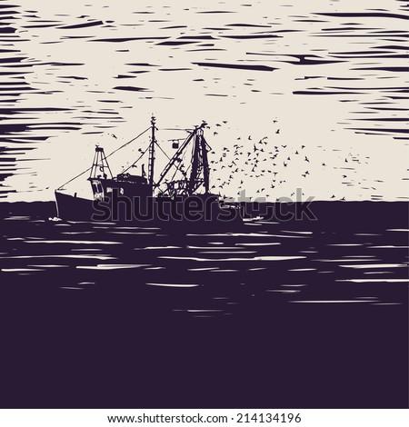 fishing schooner  sea and sea...