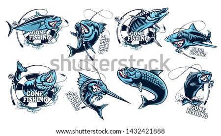 Fishing set of ocean fish. Marlin. Sword fish. Piranha. Sea bass. Shark. Tuna. Wahoo.  Marine theme. Ocean fishing background. Logos for fishing club. Fish vector collection. Tuna. Marlin.