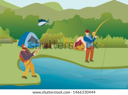 Fishing Summer Hobby Flat Vector Illustration. Male Friends Angling in Recreation Park Lake. Fishermen Camping, Leisure Activity, Pastime. Cartoon Anglers Holding Rod, Catching Fish