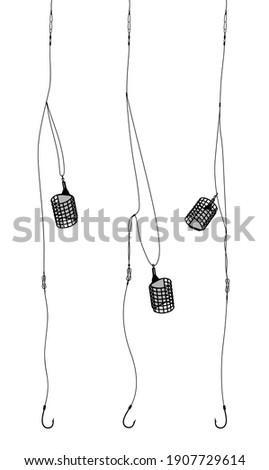 Fishing tackle. Set of fishing feeder tackles. Bound feeder systems for fishing. Carp feeder, fishing knots. Vector illustration ストックフォト ©