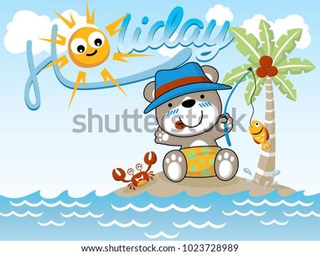 Fishing time at holiday. Vector cartoon illustration #1023728989