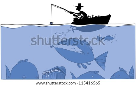 Fishing treasure. silhouette Illustration.