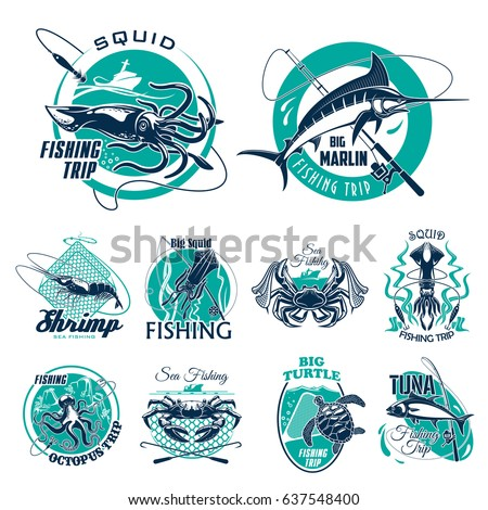 fishing trip vector icons for