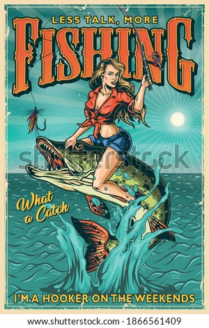 Fishing vintage colorful poster with beautiful woman holding fishing rod and sitting on pike which jumping out of water on sunbeams background vector illustration Stock fotó ©