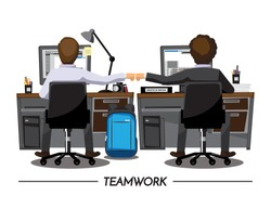Fist Bump Colleagues Collaboration Teamwork Concept ,Vector illustration cartoon