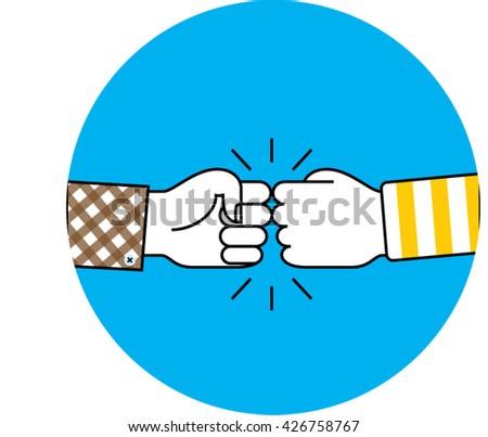 fist bump icon on blue circle