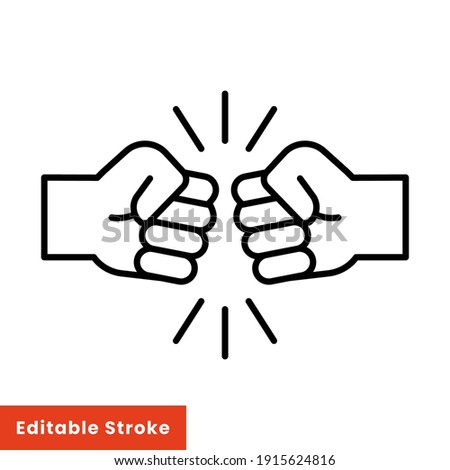 Fist bump line icon. Bro fist bump or power five pound outline style for apps and websites. Hand brother respect, impact, and handshake. Vector illustration on white background. Editable stroke EPS 10