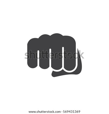 Fist, forward punch icon vector, filled flat sign, solid pictogram isolated on white. Symbol, logo illustration