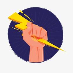 Fist hand holding thunderbolt. Zeus and power concept - vector illustration