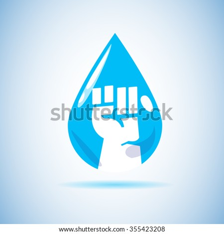 fist hand inside water drop
