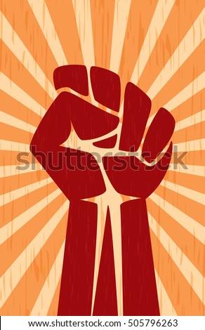 Shutterstock Fist Hand Soviet Revolution Propaganda Communist Retro Vintage Poster