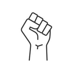 Fist hand up line icon. Black lives matter protest vector illustration