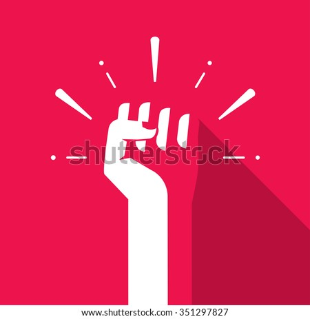 fist hand up vector icon flat