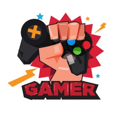 fist hand with gamer joy stick. typographic design. game lover concept - vector illustration