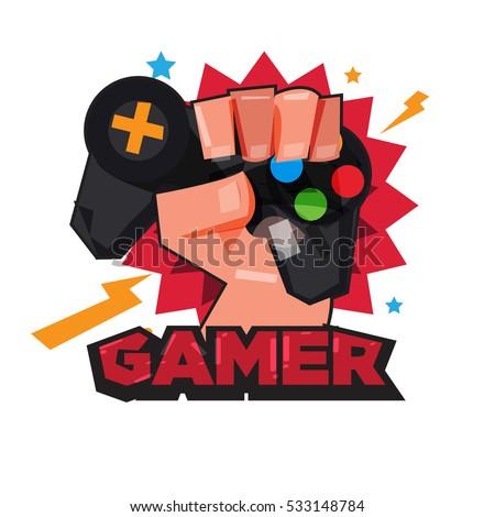 fist hand with gamer joy stick