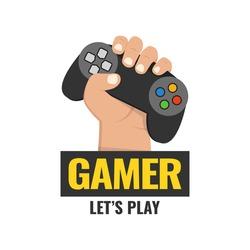 Fist hand with gamer joy stick. Vector illustration.