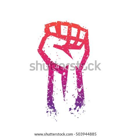 Shutterstock Fist held high in protest, hand raised up outline, revolt symbol