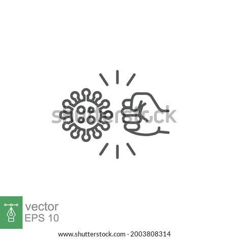 Fist kicking, fist kick by bacteria for protect virus, punching hands to fight coronavirus icon. Conquer infection disease with hand fist attack. line Vector illustration design,white background EPS10