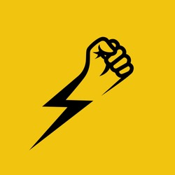 Fist lightning. Symbol protest. Black silhouette of a hand and flash. Vector illustration flat design. Isolated on yellow background. Gesture fist pictogram. Power icon. Symbol of victory and leader.