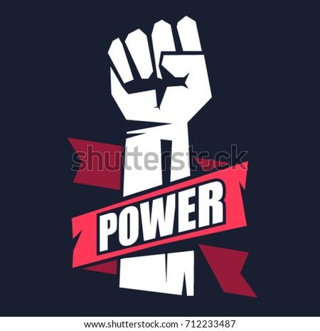 Fist male hand, proletarian protest symbol. Fist emblem illustration on dark background. Power sign