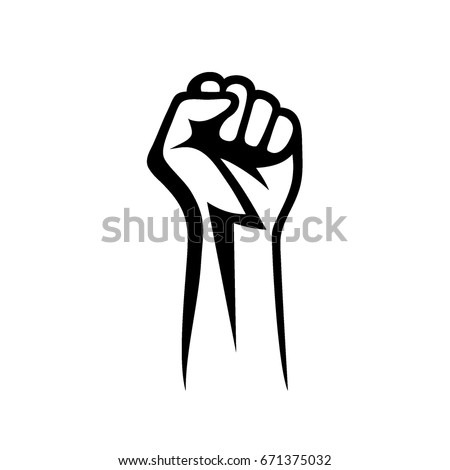 Fist male hand, proletarian protest symbol. Power sign
