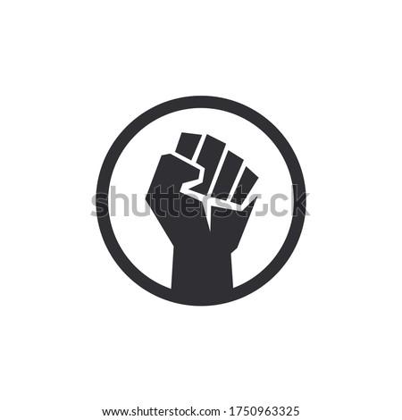 Fist male hand. Protest symbol. Power sign. Fist logo. Raised fist. Revolution fist. Fight icon. Human hand.