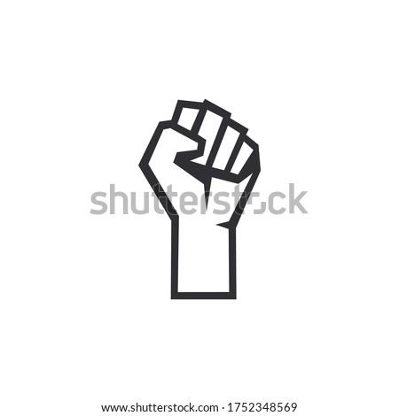 Fist male hand. Protest symbol. Power sign. Fist logo. Raised fist. Revolution fist. Fight icon. Human hand. Logo with hand. Logo template. Freedom symbol. Kulak.