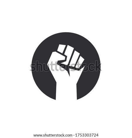 Fist male hand. Protest symbol. Power sign. Fist logo. Raised fist. Revolution fist. Fight icon. Human hand. Logo with hand.
