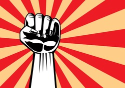 Fist of revolution. Hand up for showing power of our. Illustration in pop art and retro style.