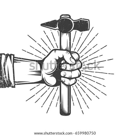 fist of worker holding hammer...