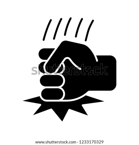 Fist on table glyph icon. Anger, aggression. Angry person. Fist hitting table. Silhouette symbol. Negative space. Vector isolated illustration