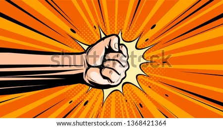 Fist. Pop art retro comic style. Punch, cartoon vector illustration