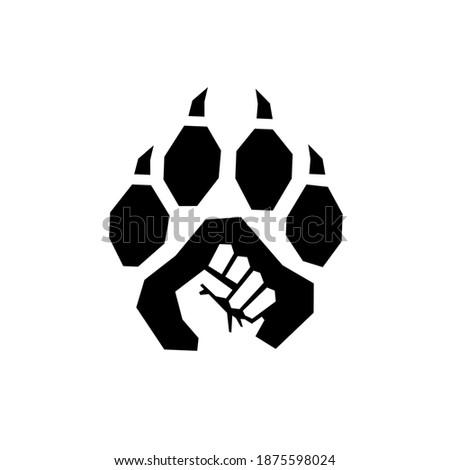 fist punch logo combine with big cat footprint. logo illustration ストックフォト ©