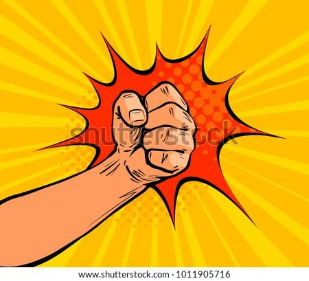 fist punching  crushing blow or