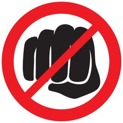 fist punching not allowed sign (violence prohibition icon)