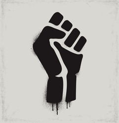 Fist raised in protest. Black fist icon isolated on a light background. Vector illustration