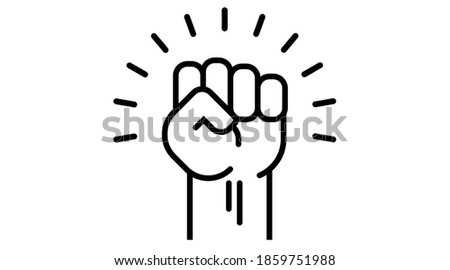 Fist up power Concept of protest, rebel, political demands, revolution, unity, cooperation, lives matter, don t give up. vector icon isolated. Hand raised air, election. Stock photo ©